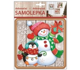 Plastic sticker 23x18 cm, snowman with penguin 10355 7763