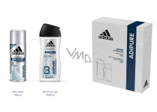 Adidas Adipure 150 ml men's deodorant spray + 250 ml shower gel, cosmetic set