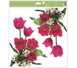 Room Decor Window foil without glue corner Tulips pink with glitter 30 x 33.5 cm