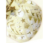 Nekupto Ball Luxury beige snowman, stars, trees 1 cm x 10 m KB 217 01
