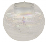 Glass candlestick with glitter diameter 8 cm