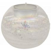 Glass candlestick with glitter diameter 8 cm