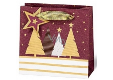 BSB Luxury gift paper bag 14.5 x 15 x 6 cm Christmas with trees VDT 439-CD