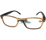 Berkeley Reading Prescription Glasses +1.0 plastic transparent brown, black sides 1 piece MC2166