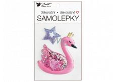 Plastic sticker filled with glitter Swan 10.5 x 18 cm