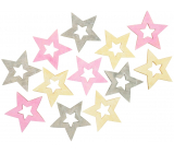 Star wooden pink-yellow-gray 4 cm 12 pieces