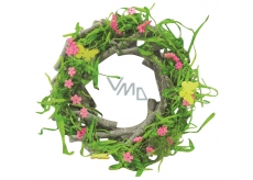 Spring green wooden wreath from twigs 22 cm