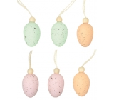 Eggs with bead plastic for hanging 4 cm, 6 pieces in a bag