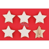 Wooden white stars with glitter, on a peg 4.5 cm 6 pieces