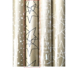 Zöllner Christmas Luxury wrapping paper with Scandi gold embossing - black stars 1.5 mx 70 cm