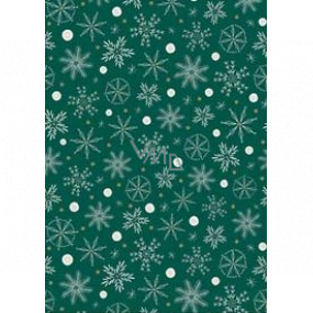 Ditipo Gift wrapping paper 70 x 200 cm Christmas green white-gold snowflakes