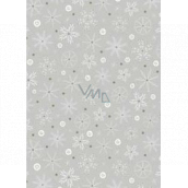 Ditipo Gift wrapping paper 70 x 200 cm Christmas silver white-gold snowflakes
