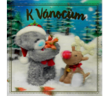 Me to You Envelope Greeting Card 3D Christmas Card, Teddy Bear with Reindeer 15.5 x 15.5 cm