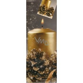 Nekupto Gift paper bottle bag 33 x 10 x 9 cm gray Big gold candle 663 02 WLH