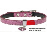 Tatrapet Lurex collar red decorated - heart 1,5 x 37 cm