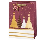 BSB Luxury Christmas gift paper bag large burgundy with trees 36 x 26 x 14 cm VDT 439-A4