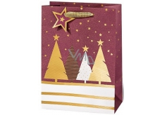 BSB Luxury Christmas gift bag large burgundy with trees 36 x 26 x 14 cm VDT 439-A4
