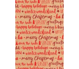 Ditipo Gift wrapping paper 70 x 200 cm Christmas KRAFT red lettering