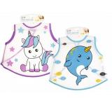 First Step Bib washable blue dolphin 38 x 39 cm