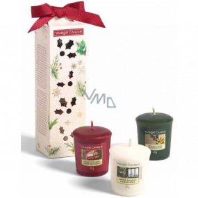 Yankee Candle Magical Christmas Morning Singing Carols - Carol Singing + Holiday Hearth - Holiday Fireplace + Surprise Snowfall - Snow Surprise Votive scented candle 3 x 49 g, Christmas gift set