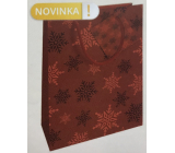 Nekupto Gift paper bag 14 x 11 x 6.5 cm Christmas red snowflakes WBS