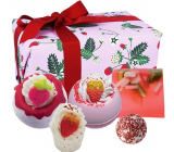 Bomb Cosmetics Full of strawberries - Strawberry Feels Forever effervescent ballistic bath ball 2 x 160 g + butter ball 30 g + butter block for bath 50 g + glycerin soap 100 g, cosmetic set