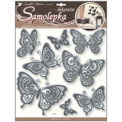 Room Decor Wall Stickers butterflies with mirror effect and black glitter contour 40 x 31 cm 1 sheet
