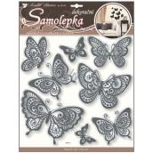 Room Decor Samolepky na zeď motýli se zrcadlovým efektem a černou glitrovou konturou 40 x 31 cm 1 arch