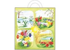Velikonoční igelitová taška s uchem Jarní květiny 48 x 45 x 6 cm