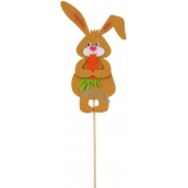 Bunny with carrot light brown groove 11 cm + skewers