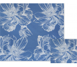 Nekupto Gift wrapping paper 70 x 150 cm Blue with white flowers