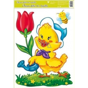 Room Decor Window foil without glue Easter big chicken with tulip 42 x 30 cm