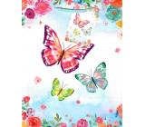 Ditipo Gift paper bag 18 x 23 x 10 cm light blue butterflies