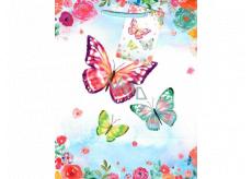 Ditipo Gift paper bag medium light blue butterflies 18 x 23 x 10 cm