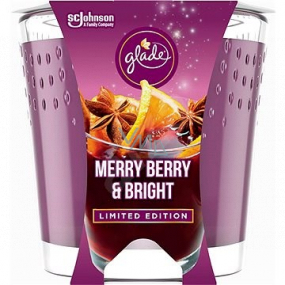 Glade Merry Berry & Bright with the scent of merlot, wild berries and spices scented candle in a glass, burning time up to 32 hours 129 g