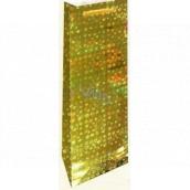 Nekupto Gift paper bag for bottle 33 x 10 x 9 cm Gold holographic 110 01 THLH