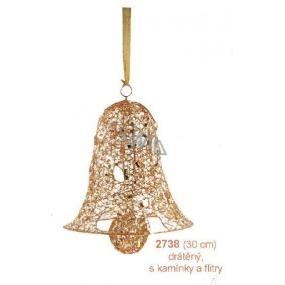 Zvon drátěný, zlatý s kamínky a flitry závěsný 30 cm