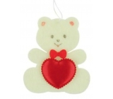 Felt teddy bear with beige heart for hanging 6.5 cm