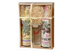 Kitl Syrob Bio Elderflower syrup 500 ml + Raspberry with flesh syrup for homemade lemonade 500 ml + glass 200 ml, gift box