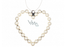 Metal hanging heart with pearls 9 cm