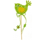 Felt bird green-white decor recess 7cm + skewers