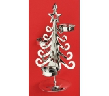 Candle metal silver tree, 20 cm, for 3 tealights