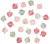 Leaves wooden gray and pink 2 cm 24 pieces