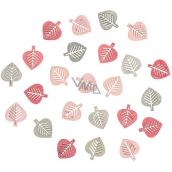 Wooden leaves gray and pink 2 cm, 24 pcs 4001 8463