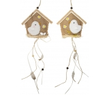 Jute house with white chicken 14 cm for hanging 1 piece