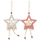 Wooden star with deer, for hanging 7 cm 1 piece