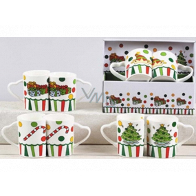Christmas ceramic mug design mix Gifts, Tree, Cap, Christmas Candy 340 ml 2 pieces in a box