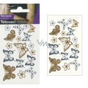 Tattoo decals gold and silver Butterflies 10.5 x 6 cm