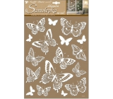 Room Decor Wall stickers white butterflies with glitter 41 x 28 cm