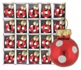 Sada skleněných baněk červených, puntík 2 cm, 20 ks